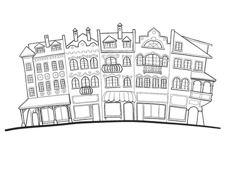 Drawing of old city street facades, houses and shops
