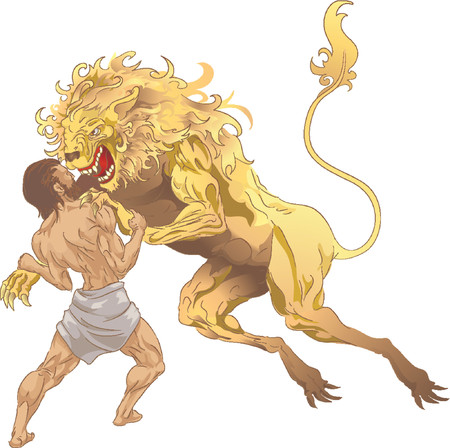 Hercules and the Nemean Lion. Hercules (Heracles, Herakles) from classical mythology fighting the Nemean lion, the first of his labours. No meshes used.