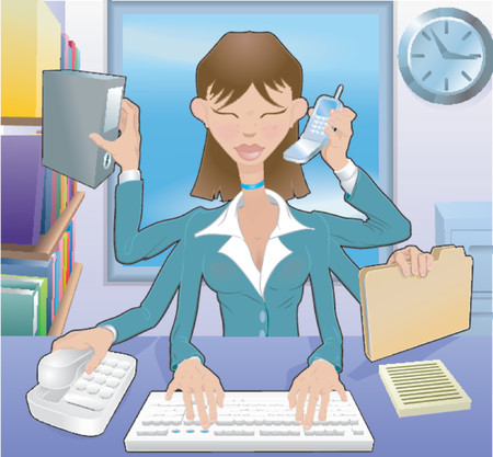 Multitasking Business woman . A busy business woman multitasking in the office, no meshes used