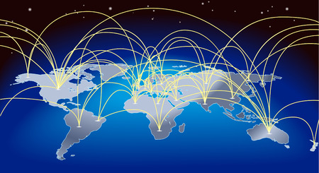 A world map background with flight paths or trade routes
