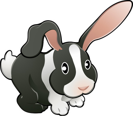 A vector illustration of a cute lovable bunny rabbit.