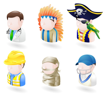An avatar people web or internet icon set series. Includes a doctor, native American, pirate, builder or construction worker or engineer, a mummy and a cricket player, sports man.