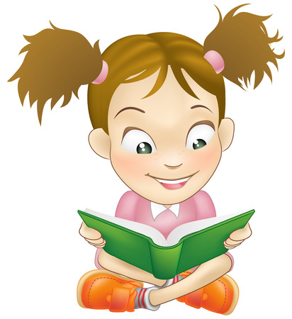 Illustration of a young sweet girl child happily reading a book
