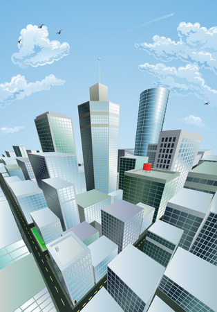 A modern cityscape of a city centre financial district with high rise skyscrapers