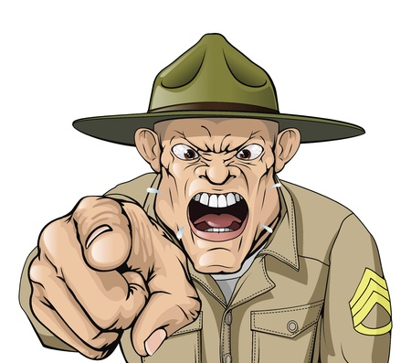 Illustration of cartoon angry looking army drill sergeant shouting at the viewer