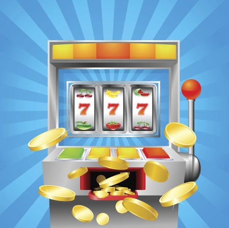 A slot fruit machine winning on 7s. Gold coins fly out at the viewer.