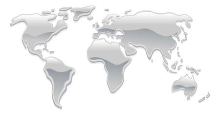 A world map made with liquid silver metal droplets like mercury forming the continents