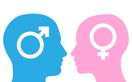 Male and female heads facing each other in silhouette with symbols.