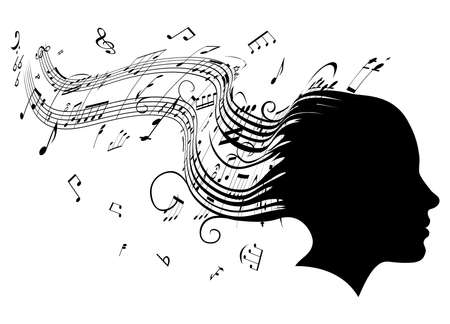 Conceptual illustration of a woman's head in profile with hair turning into sheet music musical notes