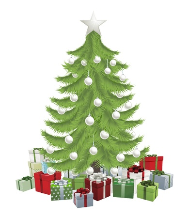 Traditional green Christmas tree with baubles and gifts.