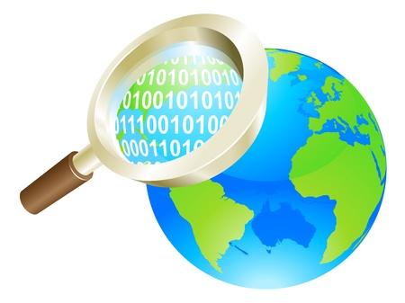 Conceptual illustration of magnifying glass binary data world globe