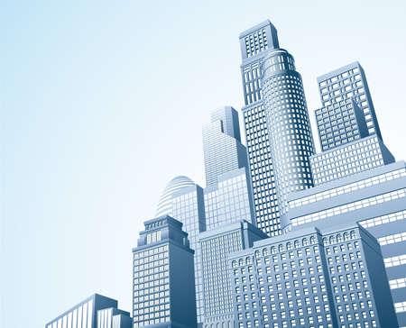Illustration of urban skyscraper skyline of office blocks