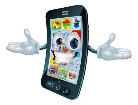 Mobile phone mascot character cartoon illustration