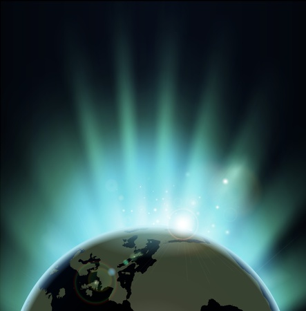 Background with rays of sun rising or setting over the earth  Europe and Africa in front