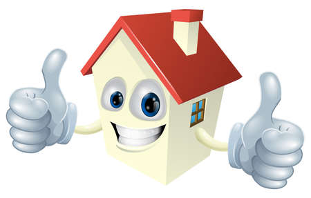 Illustration of a cartoon house mascot giving a double thumbs up