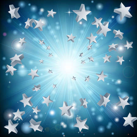 A background graphic design with a blue star explosion