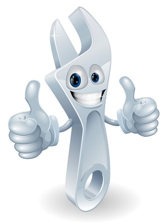 Adjustable spanner man mascot giving a double thumbs up and smiling