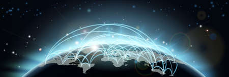 A world map network background with flight paths or trade routes or communication between countries and cities