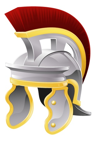 Illustration of Roman soldier's galea style helmet with red crest
