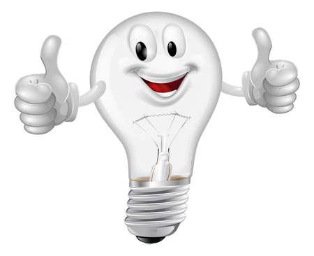Illustration of a happy cartoon lightbulb man giving a thumbs up