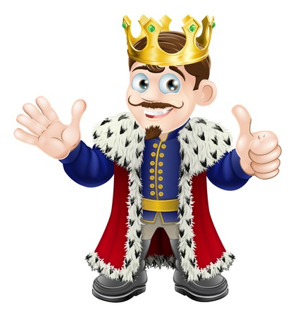 Illustration of a happy king smiling, waving and giving a thumbs up