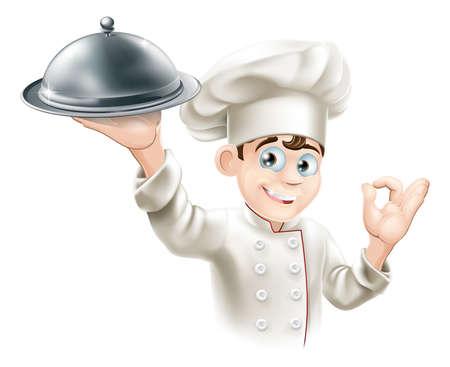 Cartoon illustration of a happy restaurant chef holding a metal food platter
