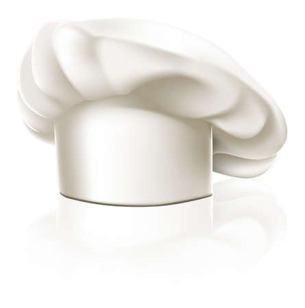 Illustration of a clean white chef or cook or bakers hat