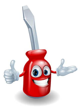 Cartoon illustration of a red screwdriver man smiling and doing a thumbs up gesture
