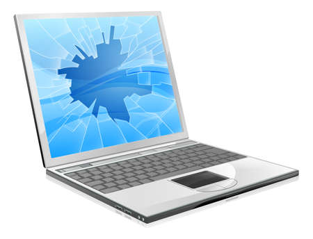 An illustration of a laptop with a smashed or broken screen