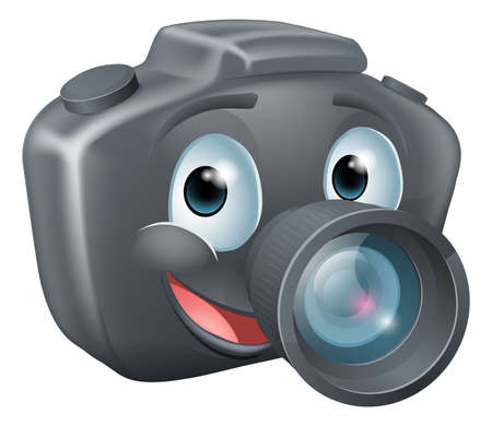 Illustration of a cute happy DSLR camera mascot character with a big smile