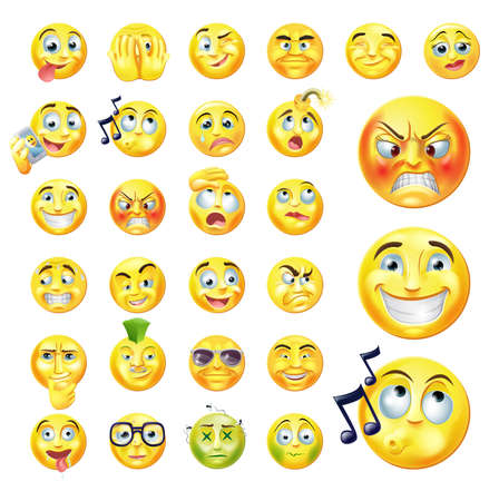 A set of very original emoticon or emoji icons representing lots of reactions, personalities and emotions