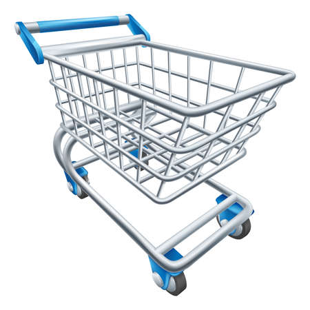 An illustration of a wire supermarket shopping cart trolley or basket