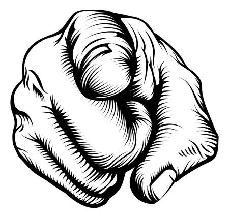 Retro black woodcut print style hand pointing finger at viewer, from front