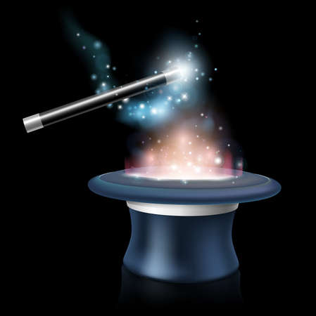Magic tick hat and wand with magical blue light and stars around it being waved over a glowing magic top hat