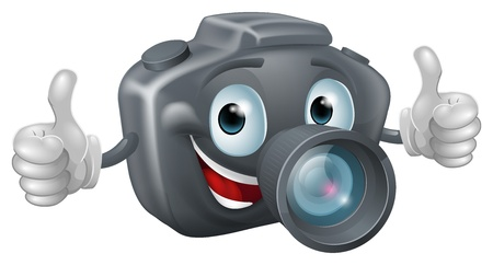 A happy cartoon camera mascot grinning and giving a double thumbs up