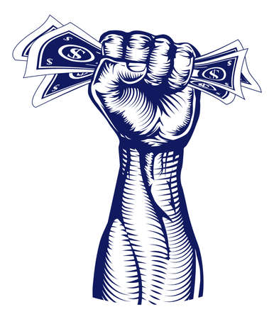 A revolutionary fist holding up a hand full of dollar bills money