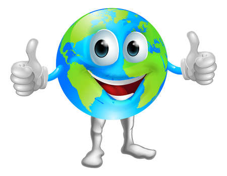 A world or globe mascot character with a broad grin giving a thumbs up