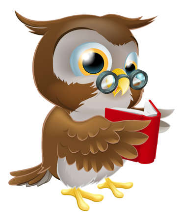 An illustration of a cute wise cartoon owl character wearing glasses and reading a book