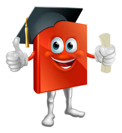 Cartoon graduation book education mascot giving thumbs up, wearing mortarboard hat and holding a diploma.