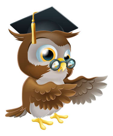 A cute cartoon wise owl wearing a mortar board professor or teacher's hat and glasses and pointing both wings