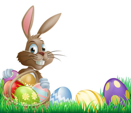 Isolated Easter footer design with a bunny rabbit and decorated Easter eggs in a basket