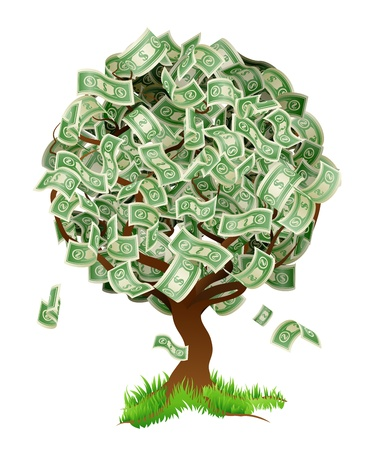 A conceptual illustration of a tree growing money in the form of dollar notes. Concept for profit or economic growth, earning interest or similar growing your money type theme.