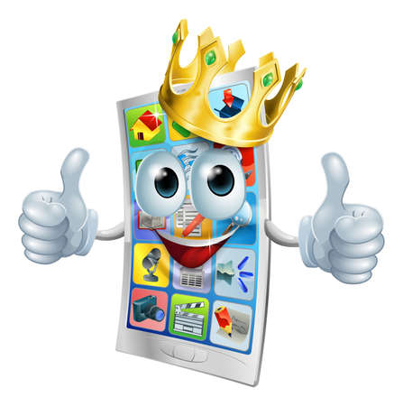 Illustration of a cell phone king character wearing a gold crown and giving a double thumbs up