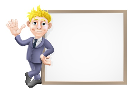 An illustration of a smiling and waving businessman in his business suit leaning on a big sign with copy-space