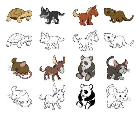 A set of cartoon animal illustrations  Color and black an white outline versions
