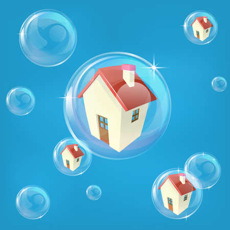 Business or economics concept illustration representing a bubble in the housing or real estate market