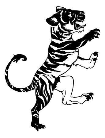 An illustration of a stylised tiger perhaps a tiger tattoo