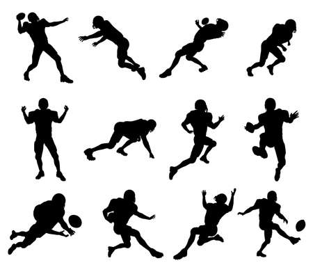 A set of highly detailed high quality American football player silhouettes