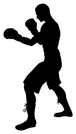 A detailed silhouette of a boxer with gloves boxing