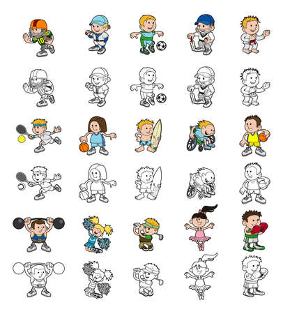 A set of cartoon people or children playing sports  Color and black and white outline versions